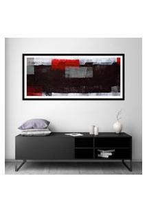 Quadro Com Moldura Chanfrada Abstrato Vermelho 60X130