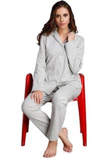 Pijama Longo Inspirate Aberto Animal Print Feminino - Feminino-Cinza+Branco