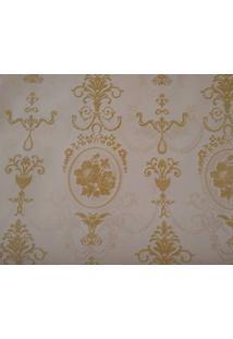 Papel De Parede Aveludado Maya Wallpaper 0,53 X 10M Flocado Dourado