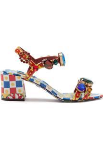 Dolce & Gabbana Sandália Com Estampa Gráfica - Azul