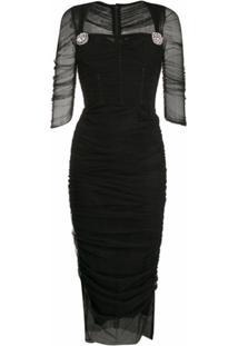 Dolce & Gabbana Vestido Midi Com Tule - Preto