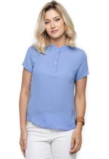 Camisa Sob Feminina Manga Curta Em Crepe - Feminino-Azul