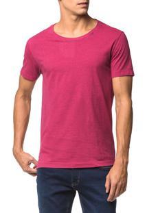 Camiseta Slim Decote Amplo Estampa Costa - Rosa Escuro - G