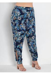 Calça Floral Azul Com Fenda Plus Size