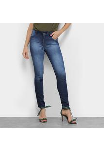 Calça Jeans Skinny Colcci Bia Estonada Feminina - Feminino-Azul Escuro