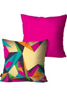 Kit Com 2 Capas Para Almofadas Pump Up Decorativas Pink Abstrata 45X45Cm