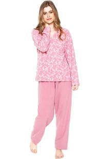 Pijama Pzama Folhas Rosa