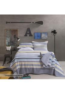 Jogo De Cama Home Design Casal- Azul Escuro & Amarelo