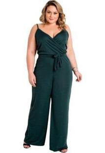 Macacão Plus Size Marguerite Alças Amarração Feminino - Feminino-Verde