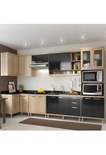 Cozinha Completa 15 Portas 3 Gavetas Para Pia 5830 Preto/Argila - Multimóveis