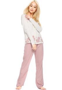 Pijama Hering Longo Estampado Bege/Rosa