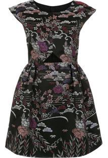 Framed Vestido Evasê 'Tokyo' Curto - Estampado