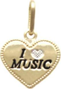 Pingente Prata Mil Coração I Love Music Com Resina E Ródio Ouro