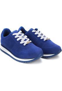Tênis Vizzano Jogging Camurça Feminino - Feminino-Azul