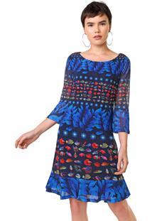 Vestido Desigual Curto Tule Calesi Azul/Vermelho