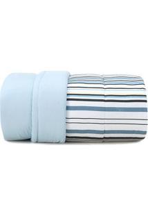Edredom Malha In Cotton Listrado Queen Size- Azul Escuroaltenburg