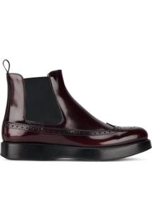 Church'S Ankle Boot Chelsea De Couro - Vermelho