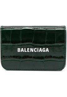 Balenciaga Carteira Cash Mini Com Efeito De Pele De Crocodilo - Verde