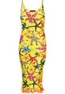 Versace Vestido Midi Plissado Com Estampa Estrela Do Mar - Amarelo