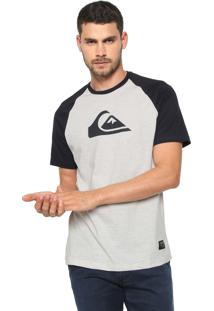 Camiseta Quiksilver Raglan Logo Cinza/Azul-Marinho