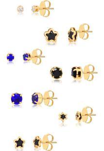 Kit De Sete Brincos Com Pedras Pretas, Azuis E Brancas Folheado Em Ouro 18K - 8888000000021