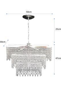 Lustre Lina Design Retangular Cristal Acrílico Europa 50X30X75