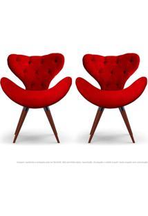 Kit De 02 Poltronas Decorativas Cadeiras Egg Com Capitonê Vermelha Com Base Fixa De Madeira