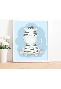 Quadro Decorativo Infantil Zebra Baby Branco - 30X40Cm - Multicolorido - Dafiti