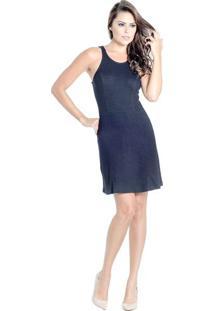 Vestido Evasê Zíper Posterior Recortes Colcci
