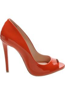 Sandália Open Toe Verniz Red Orange | Schutz