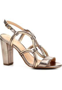Sandália Couro Shoestock Salto Grosso Bicolor Feminina - Feminino-Chumbo+Dourado