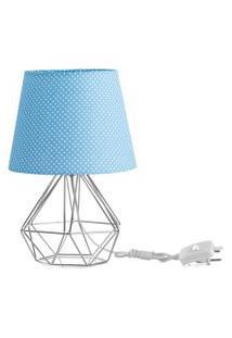 Abajur Diamante Dome Azul/Bolinha Com Aramado Cromado