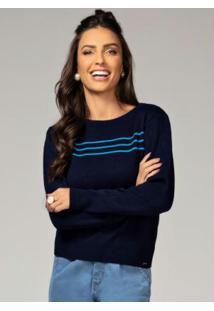 Suéter Azul Com Franzido No Ombro