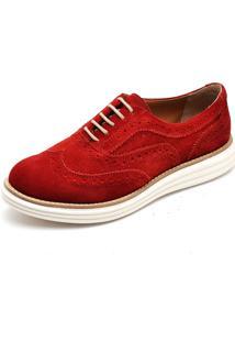 Sapato Oxford Casual Camurça Q&A 300 Vermelho
