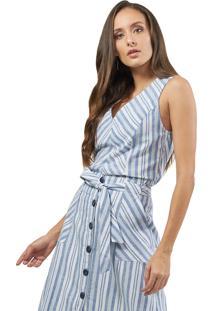 Regata Mx Fashion Linho Listrada Samira Azul