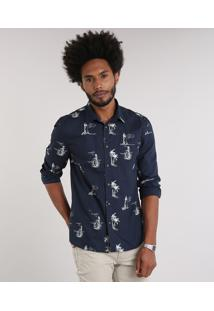 Camisa Masculina Estampada Com Bolso Manga Longa Azul Marinho