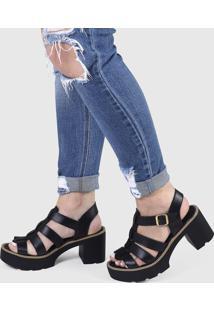 Sandália Três Tiras Salto Oxford Tratorado Sintético - Kanui