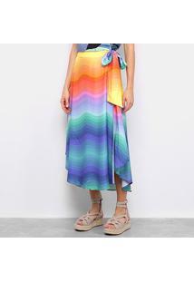 Saia Farm Longa Fita Rainbow - Feminino-Estampado