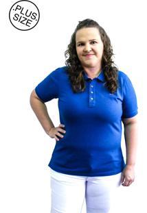 Camisa Hifen Pã³Lo Piquet Plus Size Azul - Azul - Feminino - Algodã£O - Dafiti
