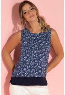 Blusa Floral Azul Com Fenda Laterais
