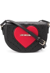 Love Moschino Bolsa Transversal Com Logo E Coração - Preto