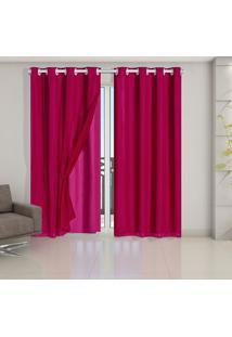 Cortina Blackout Pvc Com Tecido Voil 2,80 M X 2,30 M Pink - Multicolorido - Dafiti