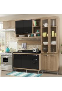 Cozinha Compacta Sicília 9 Portas Com Tampo E Vidro Preto/Argila - Multimóveis