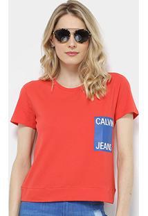 Camiseta Calvin Klein Logo Manga Curta Feminina - Feminino