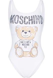 Moschino Maiô Com Estampa De Logo E Ursinho - Branco