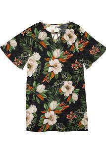 Vestido Feminino Estampa Floral Endless Preto