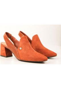 Sapato Bottero Slingback Bico Fino Feminino - Feminino-Terracota