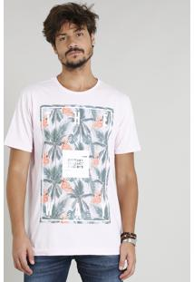 Camiseta Masculina Com Estampa De Flamingo Manga Curta Gola Careca Rosa Claro