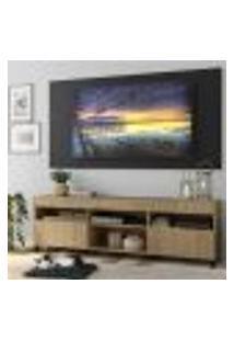 """Rack Com Painel Tv 65"""" Com Rodízios E 2 Portas Londres Multimóveis Rustic/Preto"""
