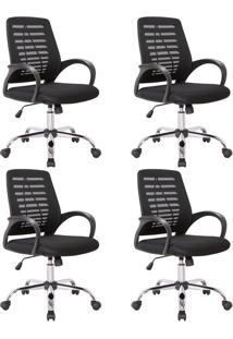 Conjunto Com 4 Cadeiras De Escritório Secretária Giratórias Light Preto